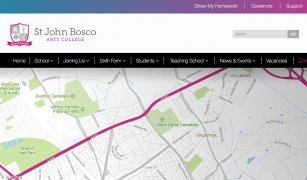 Custom Interactive Map & Directions - Google Map Integration on Bosco School website